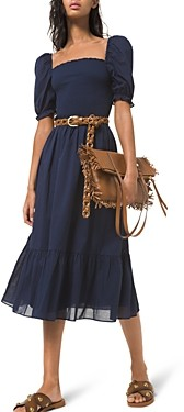 MICHAEL Michael Kors Smocked Cotton Lawn Puff Sleeve Dress