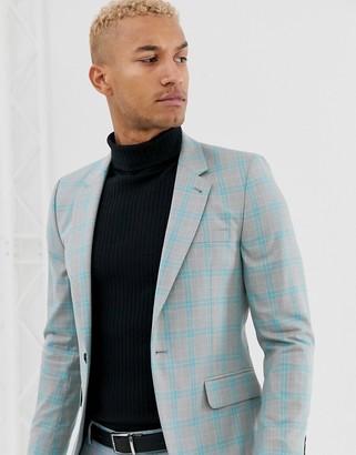 ASOS DESIGN skinny suit jacket in color pop gray check