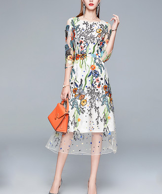 Vicky and Lucas Women's Special Occasion Dresses Multi-color - White Floral Embroidered Sheer-Overlay Midi Dress - Women