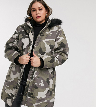 Simply Be padded coat with faux fur trim in camo print-Multi