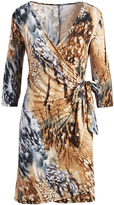 Glam Taupe Abstract Three-Quarter-Sleeve Wrap Dress - Plus Too