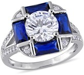 Allura 2.4 CT. T.W. Blue Spinel and 5.8 CT. T.W. Cubic Zirconia Vintage Square Ring in Sterling Silver