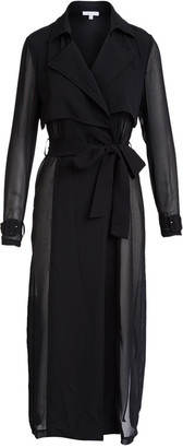 Lucy Paris Women's Trench Coats BLACK - Black Jasmine Sheer Trench Coat - Women