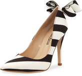 Neiman Marcus Verity Striped Bow Pump, Black/White