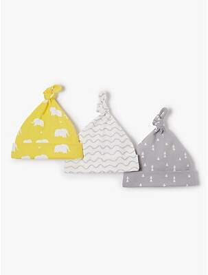 John Lewis & Partners Baby Elephant Knotted Hat, Pack of 3, Multi