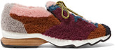 Fendi Patchwork Shearling Sneakers - Claret