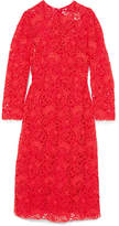 Valentino Blossom Macramé Lace Midi Dress - Red