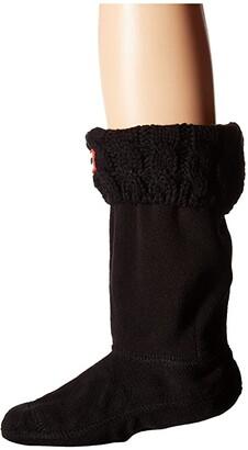 Hunter Original Kids' Half-Cardigan 6 Stitch Cable Boot Socks (Toddler/Little Kid/Big Kid) (Black) Girls Shoes