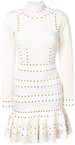 Alexander McQueen Turtleneck Eyelet mini dress