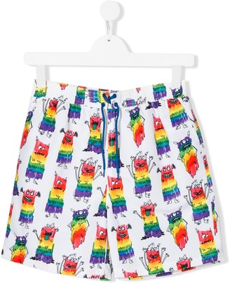 Stella McCartney TEEN monster print swim shorts
