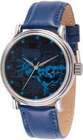 EWatchFactory Blue Black Panther Leather-Strap Watch