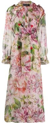 Dolce & Gabbana Oversized Floral Print Belted Coat