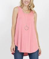 Lydiane Women's Tee Shirts ROSE - Rose Pink Curved-Hem Tank - Women