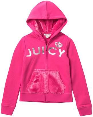 Juicy Couture Zip Up Hoodie with Faux Fur Pocket (Big Girls)