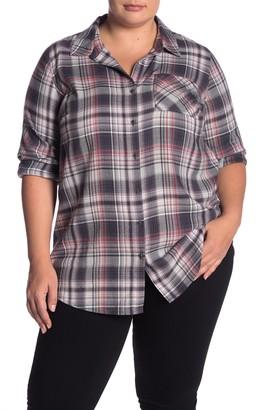 Susina Plaid Button Down Tunic (Plus Size)