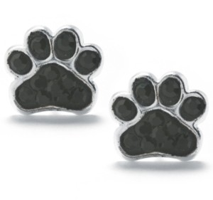 Giani Bernini Black Pave Crystal Dog Paw Stud Earrings set in Sterling Silver