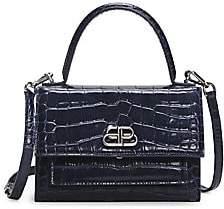 Balenciaga Women's Extra-Small Sharp Croc-Embossed Leather Top Handle Satchel