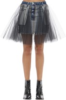 Unravel Tulle & Cotton Denim Mini Skirt