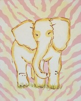 The Well Appointed House Renditions by Reesa Hand Painted Safari Elephant Canvas-Available in Two Different Colors