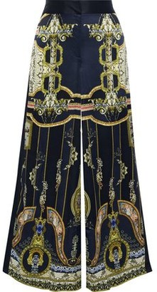 Camilla Chiffon-paneled Printed Silk-satin Wide-leg Pants