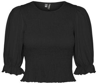 Vero Moda Anne 3/4 Smock Top Black - XL