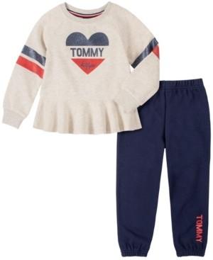 Tommy Hilfiger Little Girls 2 Piece Peplum Top with Pant Set