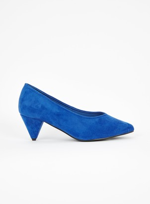 Evans EXTRA WIDE FIT Blue Cone Heel Court Shoe