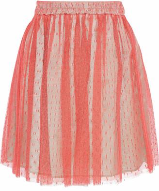 RED Valentino Pleated Point D'espirit Mini Skirt