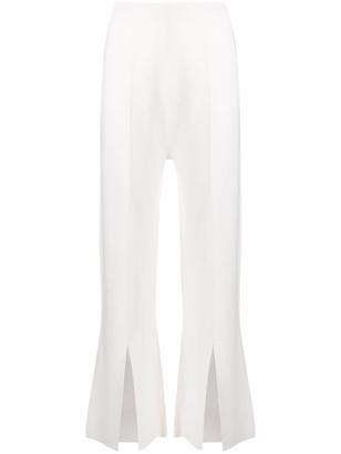 Allude Front-Slit Flared Trousers