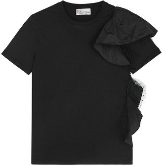 RED Valentino Black ruffle-trimmed cotton T-shirt