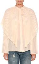 Stella McCartney Pleated Silk Capelet Blouse