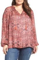 Lucky Brand Plus Size Women's Print Split Neck Blouse