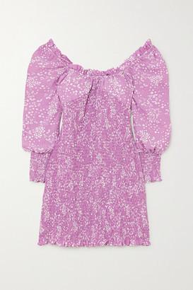 Faithfull The Brand Gombardy Shirred Floral-print Crepe Mini Dress - Lavender