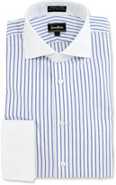 Neiman Marcus Classic-Fit Non-Iron Striped Dress Shirt, White/Blue