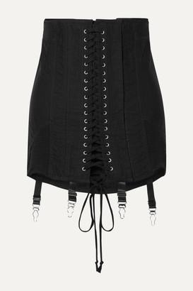 Orseund Iris Gamine Lace-up Cotton-twill Mini Skirt - Black