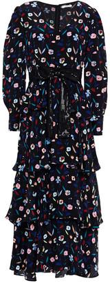Olivia Rubin Eveline Tiered Floral-print Silk Maxi Dress