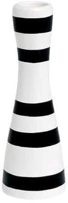 "Kähler Omaggio 6.3"" Black and White Stripe Candle Holder"