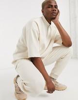 BEIGE Asos Design ASOS DESIGN two-piece oversized t-shirt with turtle zip neck in scuba fabric