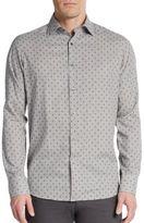 Saks Fifth Avenue Regular-Fit Neat Diamond Check Cotton Sportshirt