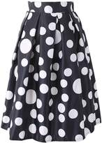 URqueen Women's A-Line Pleated High Waist Polka Dot Midi Skirts Black