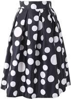 URqueen Women's Floral Print High Waisted Pleated Midi Skirt