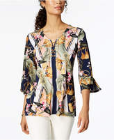 JM Collection Petite Printed Lace-Up Tunic, Created for Macy's