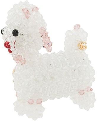 Gucci Bead-Embellished Dog Brooch