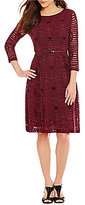 Alex Marie Siobhan 3/4 Sleeve Belted Lace Dress