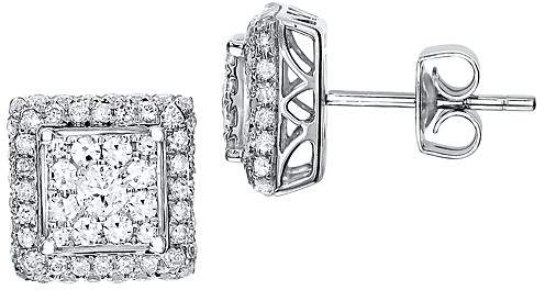 Bloomingdale's Diamond Cluster Square Stud Earrings in 14K White Gold, 1.0 ct. t.w.