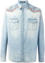 Roberto Cavalli embroidered vintage effect denim shirt