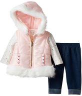 Little Lass Baby Girl Faux-Fur Vest, Top & Leggings Set