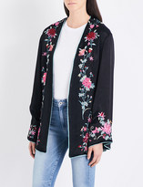 Free People Self-tie floral-embroidered satin jacket