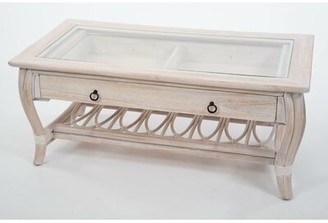 Bay Isle Home Presley Glass Top Coffee Table with Drawer Bay Isle Home