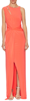 Halston Jersey Twist Keyhole Floor Length Dress